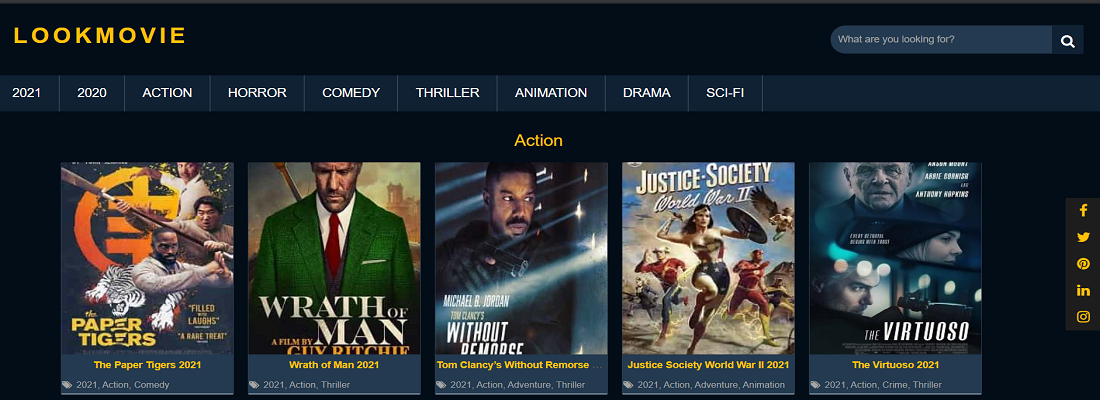 Movies and shows in many categorie